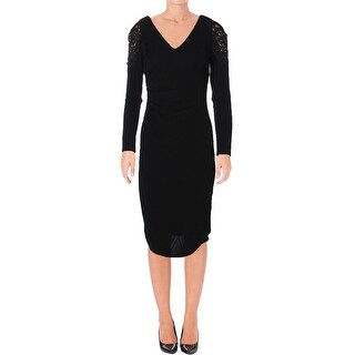 David Meister Womens Cocktail Dress Crochet Trim Ruched