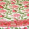 Handmade Lotus Flower Block Print 100% Cotton Tablecloth Red 60x60 Square 60x90 REctangle 72 Inch Round - 60 x 90 inches - Thumbnail 6