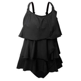 Multi-Tiered Tankini w/Adjustable Straps & Brief Bottom in Solid Black
