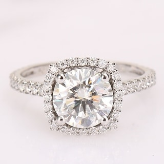 Exclusive - Round 2 1/2ct TGW Moissanite Halo Engagement Ring in 10k White Gold by Miadora