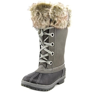 London Fog Melton Women  Round Toe Suede Gray Snow Boot