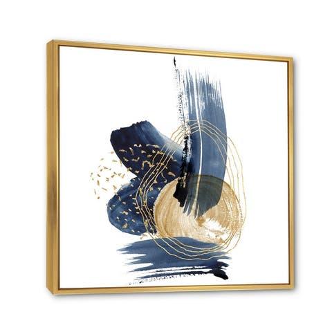Designart 'Landscape of Dark Blue Mountains & Gold Strokes II' Modern Framed Canvas Wall Art Print