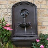 Sunnydaze Seaside Solar Wall Fountain, 27 Inch Tall, Iron Finish - Bronze