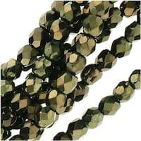 Czech Fire Polished Glass Beads 3mm Round 'Metallic Green' (50)