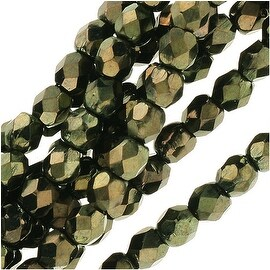 Czech Fire Polished Glass Beads 3mm Round 'Metallic Green' (50)