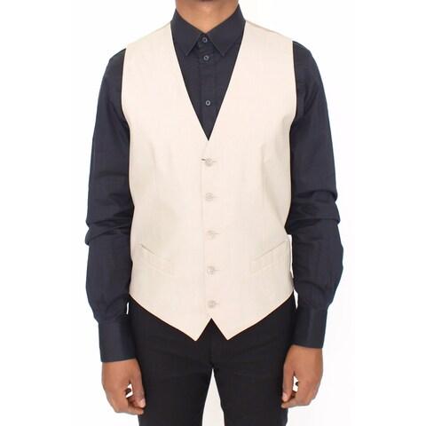 Dolce & Gabbana Dolce & Gabbana Beige Cotton Silk Blend Dress Vest Blazer - it48-m