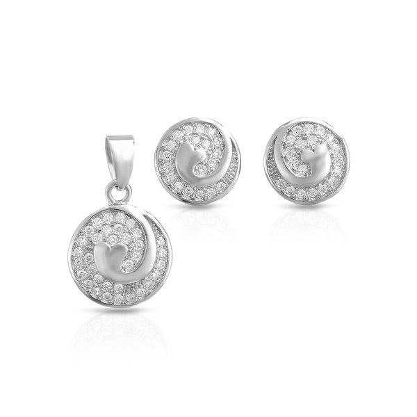 Mcs Jewelry Inc STERLING SILVER 925 CUBIC ZIRCONIA SWIRL CIRCLE EARRINGS AND PENDANT SET