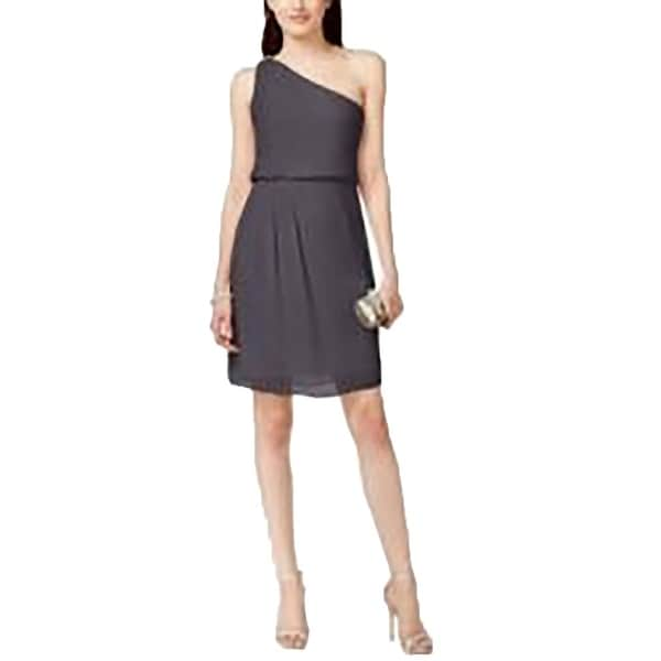 Adrianna Papell NEW Gray Women's Size 8 Sheath One-Shoulder Dress