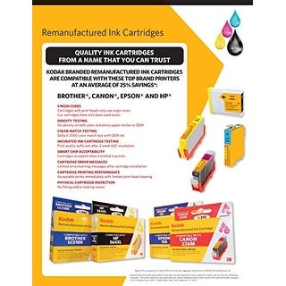 Kodak Remanufactured Ink Cartridge Compatible With Epson T060 / 60 (T060120-Bcs) High-Yield Black, Cyan, Magenta, Yellow