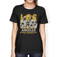 Los Angeles Beaches Summertime Womens Black Vintage Design T-Shirt