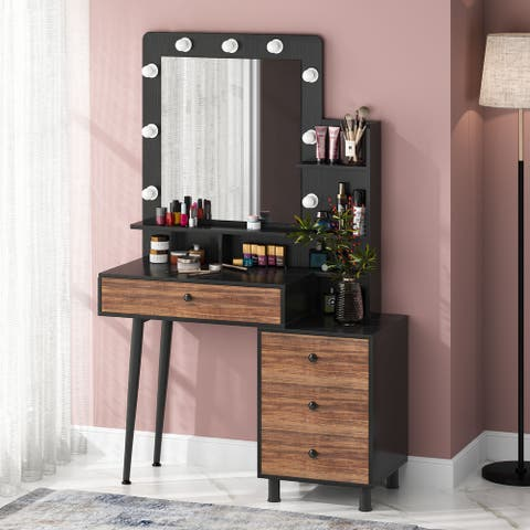 Tribesigns Vintage Makeup Dressing Table with Lighted Mirror