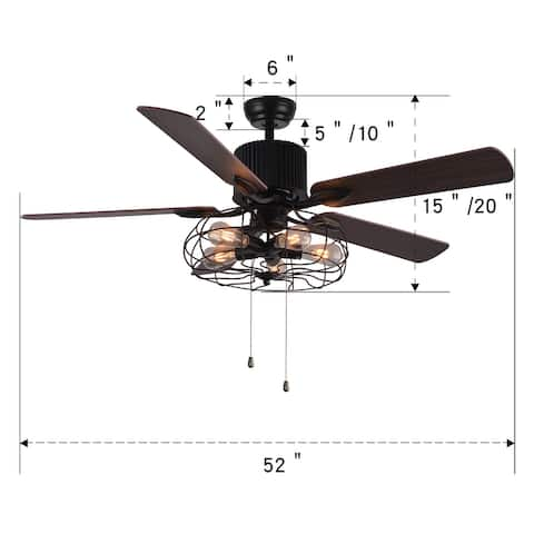 Modern Industrial 5-Light Black Cage Ceiling Fan with Remote Control - 52 Inches