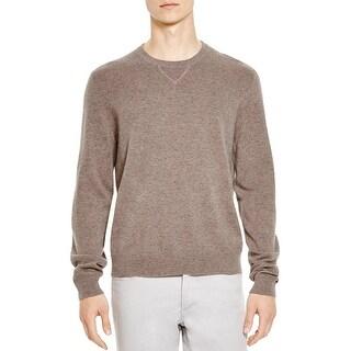 Bloomingdales Mens Cashmere Crewneck Sweater Medium M Toasted Almond