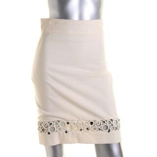 Catherine Malandrino Womens Embellished O-Ring Inset Pencil Skirt - 40