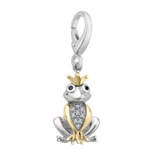 Frog Prince Charm with Diamonds in Sterling Silver & 14K Gold
