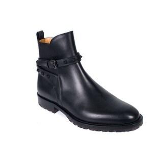 Valentino Men's Black Leather Rockstud Strap Ankle Boots