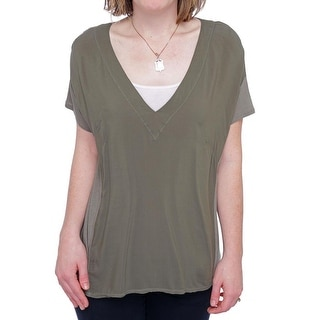 Splendid Short Sleeve V-Neck T-Shirt Women Regular T-Shirt