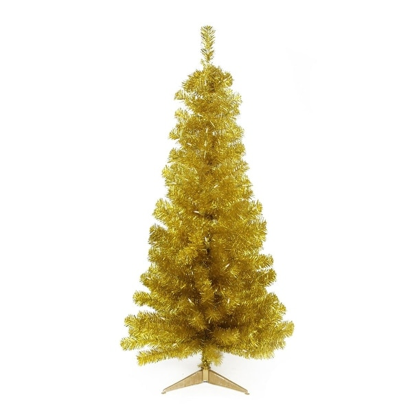 "4' x 29"" Pre-Lit Slim Gold Artificial Tinsel Christmas Tree- Clear Lights"