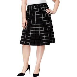NY Collection Womens Plus A-Line Skirt Window Pane Knee-Length - 1X