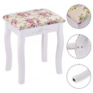 Costway White Vanity Wood Dressing Stool Padded Chair Makeup bathroom  W/ Rose cushion