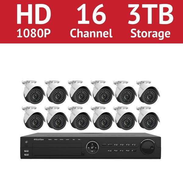 LaView 16 Channel 1080p IP NVR with (12) 1080p Bullet Cameras and a 3TB HDD