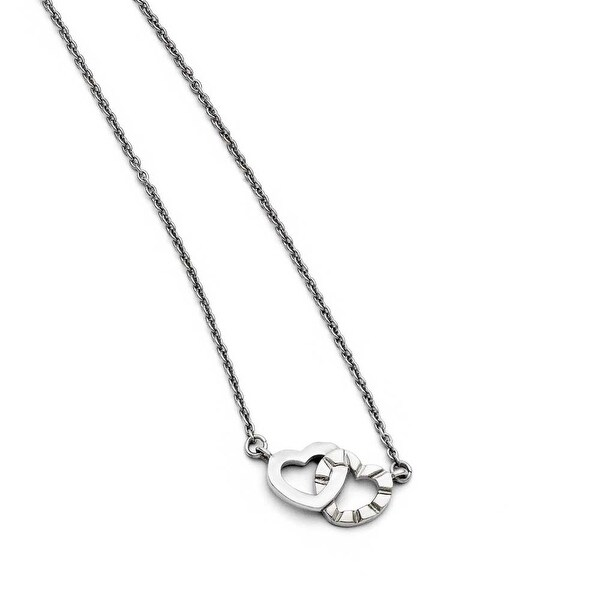 Chisel Stainless Steel Interlocking Hearts Necklace (1 mm) - 18 in
