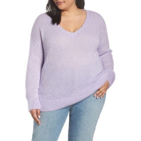 Halogen Fuzzy V-Neck Sweater, Purple Secret, 2X
