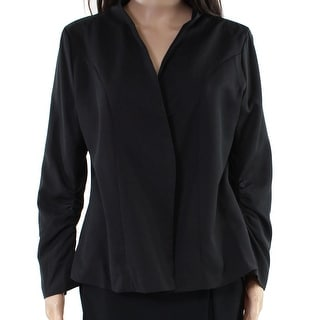 Link to Meaneor Womens Blazer Jacket Black Size Large L Collarless Ruched-Sleeve Similar Items in Women's Outerwear