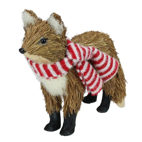 """15"""" Snowy Time Grass Standing Brown Fox with Red and White Scarf Christmas Table Top Piece"""