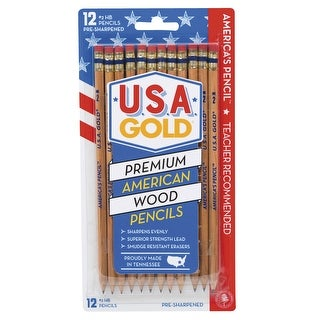 USA Gold No 2 Natural Woodcase Pencils, Pre-sharpened, Pack of 12