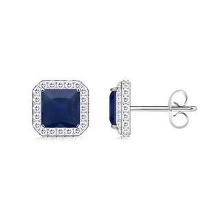 Angara Vintage Square Sapphire Stud Earrings with Diamond Halo
