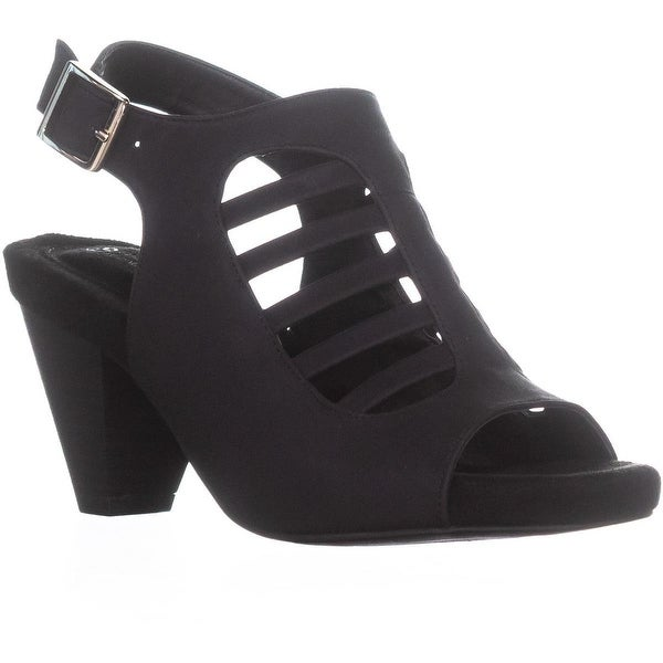GB35 Caileigh Cone Heel Slingback Sandals, Black - 6 us