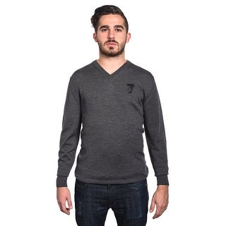 Versace Men's Medusa Head V-Neck Sweater Grey