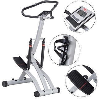Costway Folding Climbing Stepper Machine w/ Handle Bar Fitness Exercise Workout Trainer