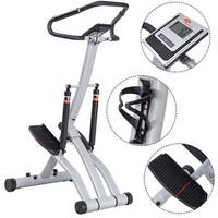 Costway Folding Climbing Stepper Machine w/ Handle Bar Fitness Exercise Workout Trainer - as pic