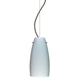 Besa Lighting 1KX-1512KR Tao 1 Light Cable-Hung Pendant with Chalk Glass Shade