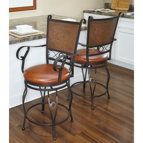 Aberdeen Stamped Back Bigh and Tall Counter Stool with Arms