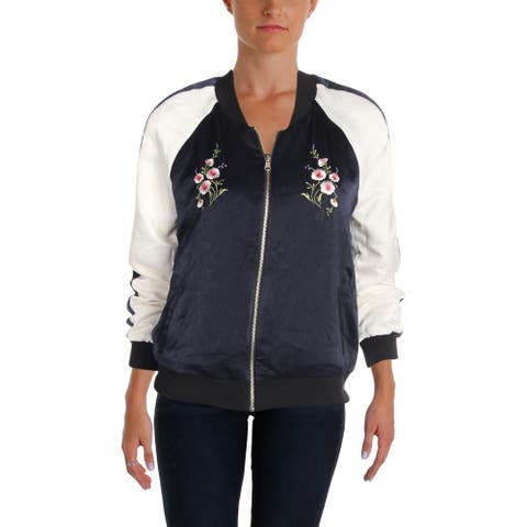 Cupcakes and Cashmere Womens Birch Bomber Jacket Fall Reversible