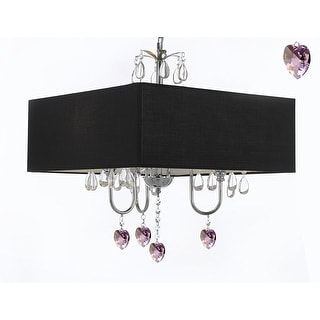 Modern Contemporary Crystal Chandelier With Large Square Black Shade And Pink Crystal Hearts!