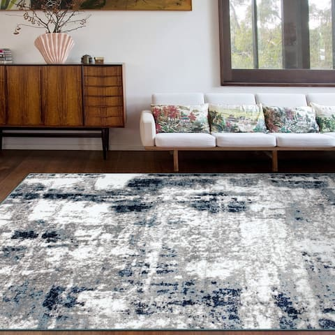 Contemporary Abstract Distressed Area Rug