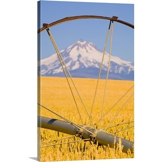 """View of Mount Hood through farming equipment, Oregon, USA"" Canvas Wall Art"