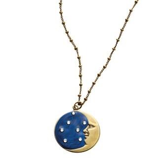 Anne Koplik Designs Moon and Stars Pendant Necklace - Bronze Moon, Crystal Stars