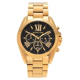 Michael Kors Men's Goldtone Stainless Steel Black Dial MK5739 'Bradshaw' Bracelet Watch