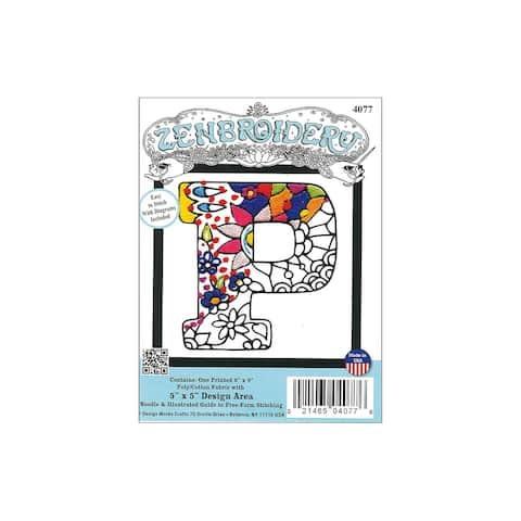 Design Works Zenbroidery Fabric 5x5 Letter P