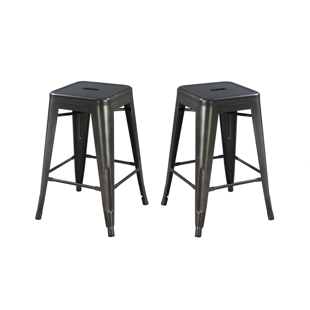 "2-Pack Carbon Loft Bengt Gunmetal Grey 24"" Bar Stool"