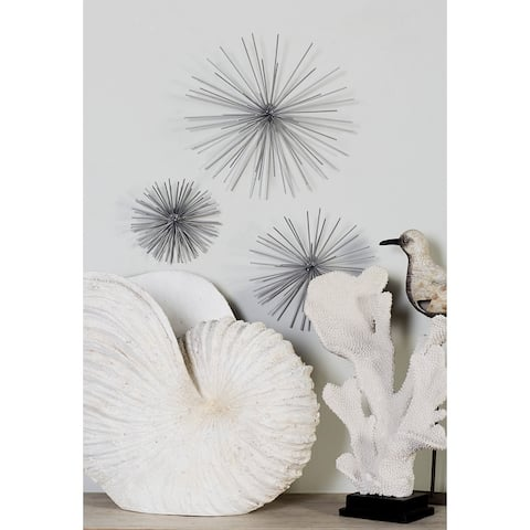 Contemporary Style 3D Round Metal Starburst Wall Decor Sculptures Set of 3