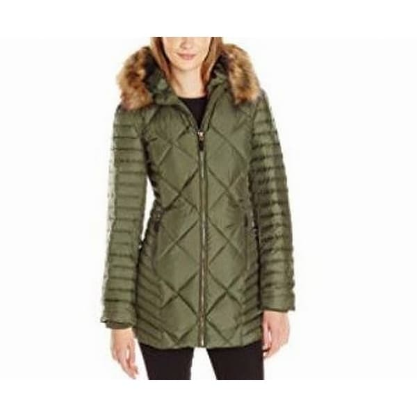 Marc York Green Women's Size XL Faux-Fur Quilted Puffer Jacket