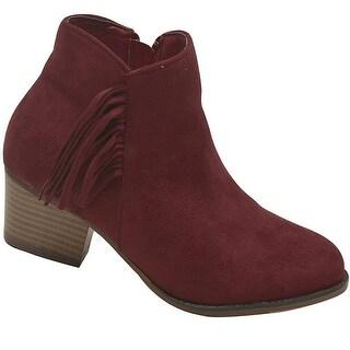 Bella Marie Adult Wine Side Zipper Fringe Adorned Ankle Boots