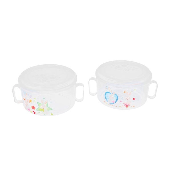 Unique Bargains Plastic Round Kitchen Lunch Dinner Rice Food Storage  Container Box Clear 2Pcs
