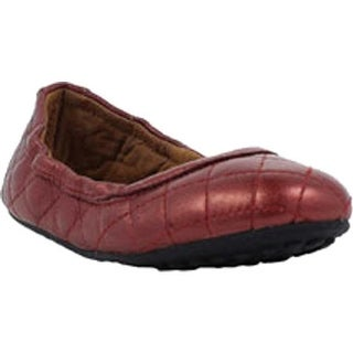 Umi Girls' Clea Big Girl Flat Burgundy Leather
